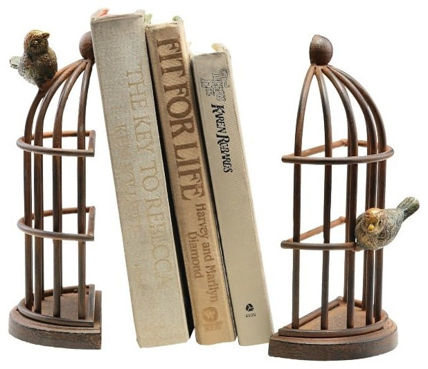 Bird Cage Bookends By Spi Eclectic Bookends By