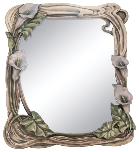 Art nouveau calla lilly mirror display decoration for Art nouveau decoration