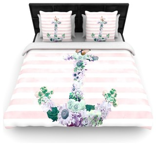 Nika martinez floral anchor pink stripes cotton duvet cover queen 88 x88 bord de mer for Parure de lit bord de mer
