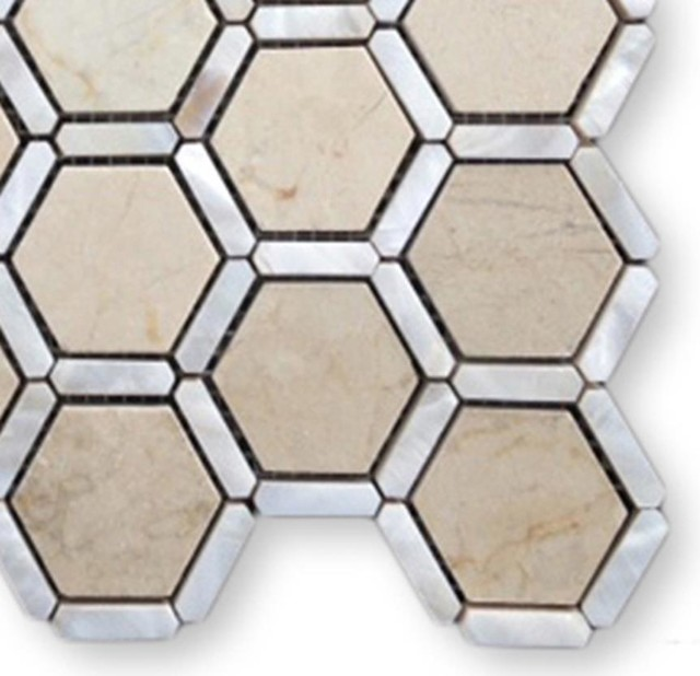 Sample-Florentine Pearl Crema Marfil Marble and Pearl Glass Sample - Traditional - Home Decor ...