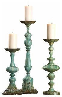 Ayla Candleholders, Set of 3 - Tropical - Candle Holders & Candelabra