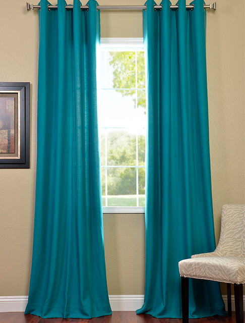 Turquoise grommet cotenza curtain contemporary - Turquoise curtains for living room ...
