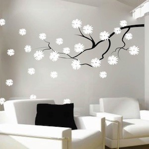 contemporary branch with flowers wall decal contemporary wall decals