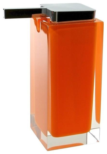 Modern orange countertop square soap dispenser modern for Orange bathroom accessories set