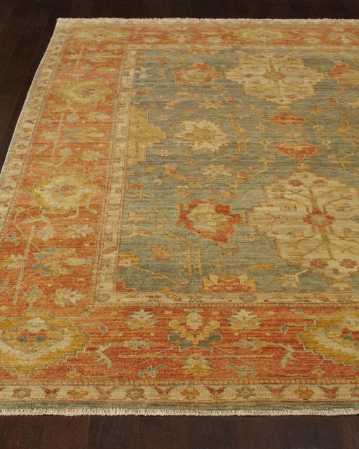 Makam oushak rug 9 39 x 12 39 light blue rust contemporary for International home decor rugs