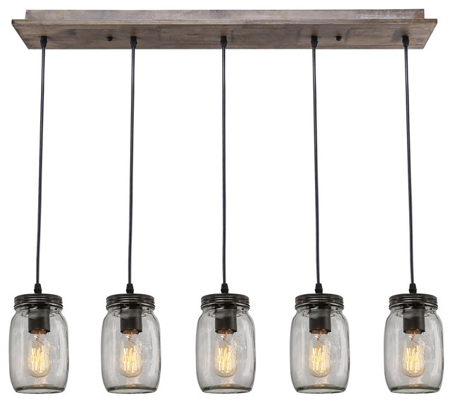 5-Light Glass Mason Jar Island Pendant - Industrial - Kitchen Island Lighting - by LNC HOME