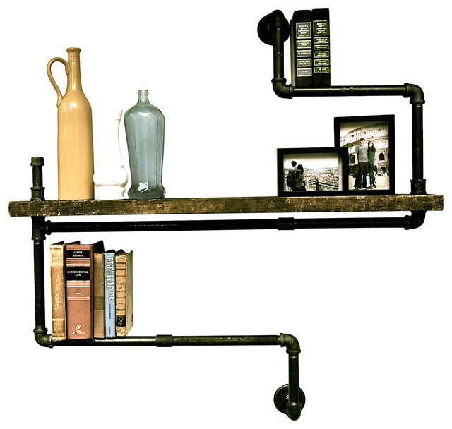 Level Three Industrial Pipe Single Wood Shelf