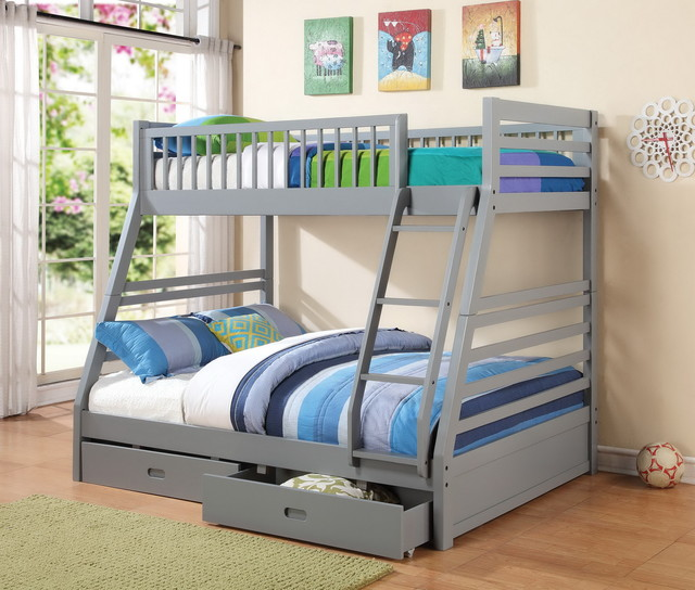 Grey Twin Over Full Bunk Bed With Storage Drawers Modern