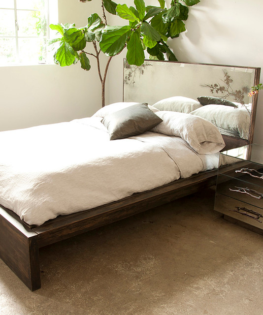 Queen Bed With Antique Mirror Thistle Headboard And Frame