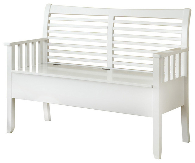 Monarch Specialties White Solid Wood 48 L Bench With Storage Transitional Accent And Storage Benches