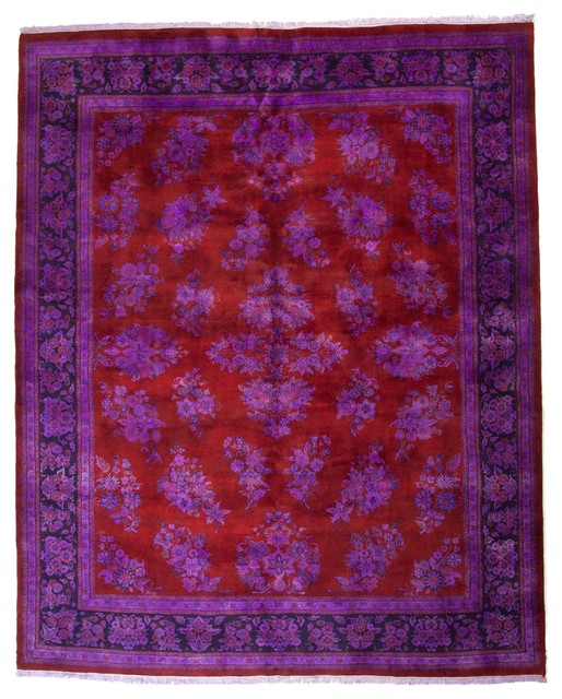 Overdyed floral persian design purple deep red rug 7 8 39 x9 for Purple area rugs contemporary