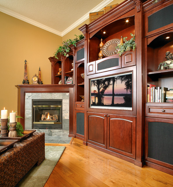 custom wall unit with corner fireplace traditional