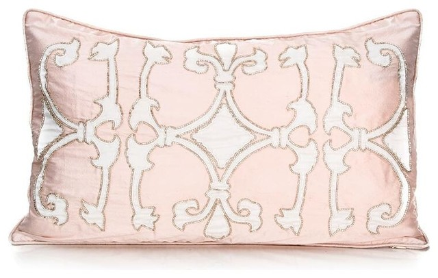 Pyar & Co. Kaori Pillow-Blush Pink - Traditional - Decorative Pillows