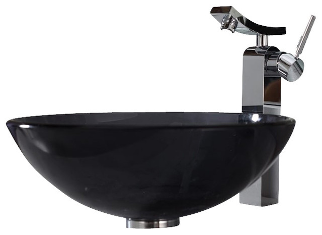 Black Glass Vessel Sink : ... Black Glass Vessel Sink and Unicus Faucet contemporary-bathroom-sinks