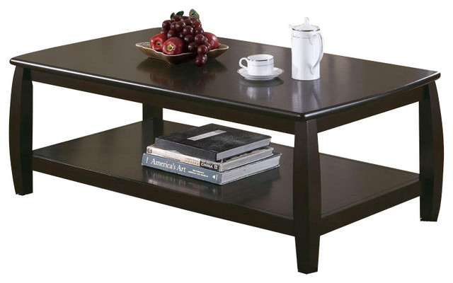 Marina Cappuccino Sturdy Bowed Legs Coffee Table Occasional Table Contemporary Coffee Tables