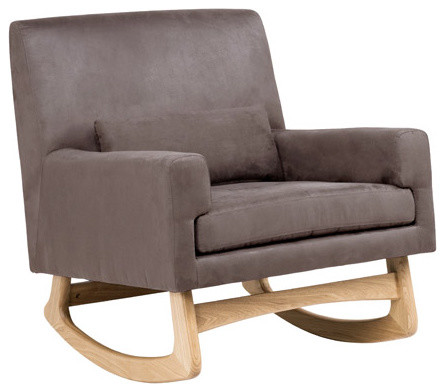 ... Rocker, Micro-Suede Slate With White Ash Finish modern-rocking-chairs