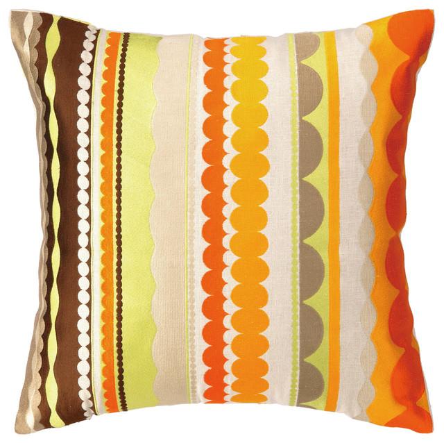 Modern Embroidered Pillow : Trina Turk Vallejo Orange Embroidered Pillow - Modern - Decorative Pillows