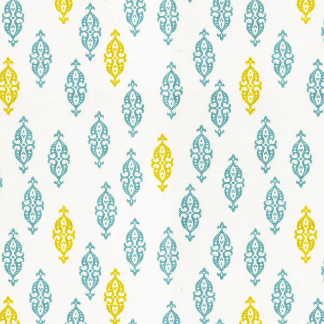 Boteh Aqua Haze Fabric New York By Loom Decor