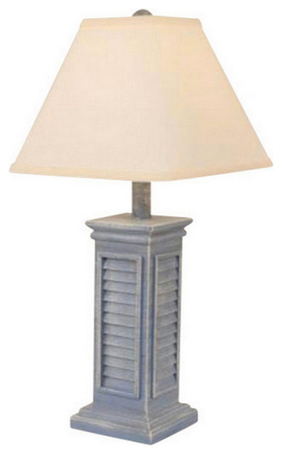 Small Square Shutter Lamp in Cottage Colors Cottage Farmhouse Table Lamp