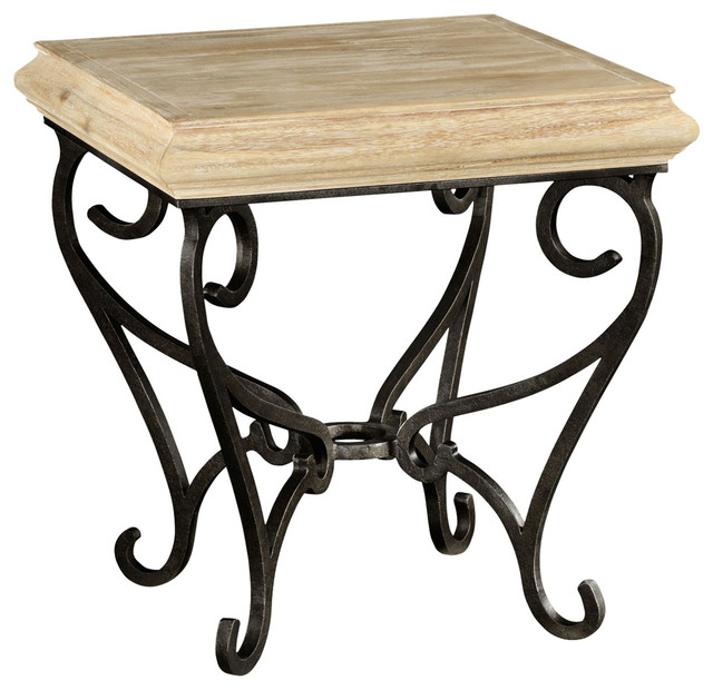 Jonathan charles limed wood square side table with wrought for Iron and wood side table
