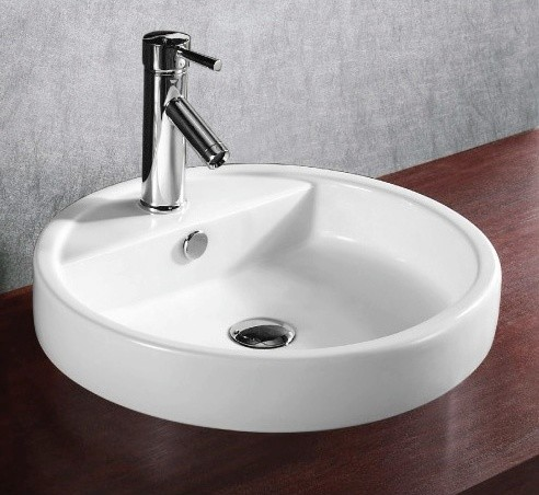 Shallow Modern Circular Self Rimming Ceramic Sink - Modern - Bathroom ...