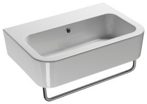 Luxury Curved Wall Mounted or Vessel Ceramic Sink, No Faucet Hole ...