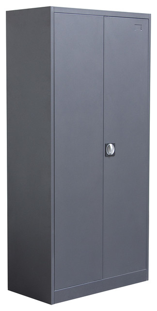 2-Door Metal Closet With Safe and Mirror With Key Lock Entry - Industrial - Storage Cabinets ...