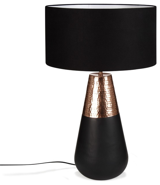 mulshi lampe avec abat jour noir cuivre h69cm. Black Bedroom Furniture Sets. Home Design Ideas