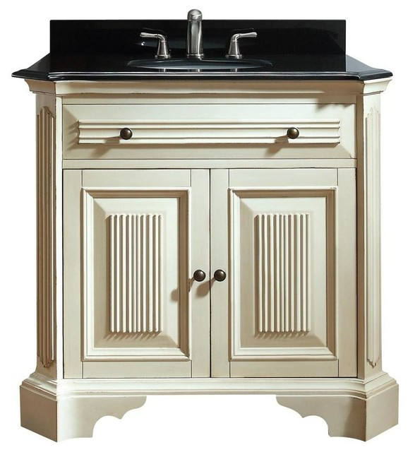Vanity set in distressed white finish traditional bathroom vanities and sink consoles by for Distressed bathroom vanity cabinets