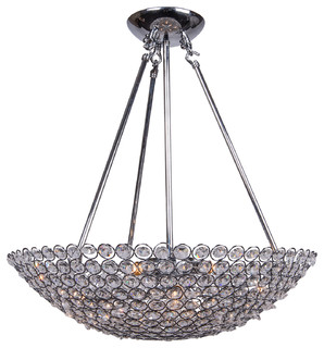 8 Light Bowl Pendant Light In Chrome Finish With Clear Crystal