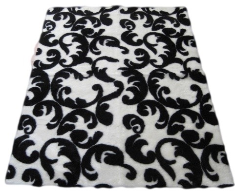 contemporary black and white flourish rug area rugs by ecofo