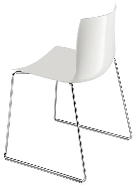 Catifa 46 stuhl mit kufen einfarbig grau bauhaus look for Design stuhl mit kufen