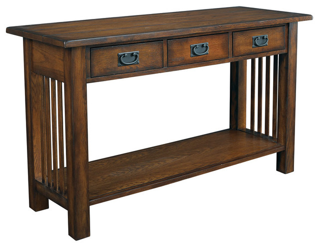 Hammary Canyon Sofa Table in Mission Oak - Craftsman - Console Tables - by Beyond Stores