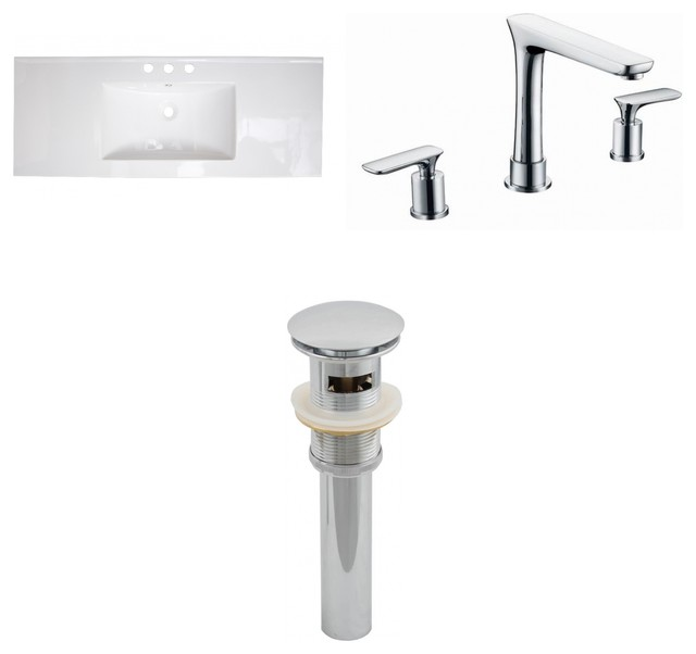ceramic top set with 8 off center faucet and drain white