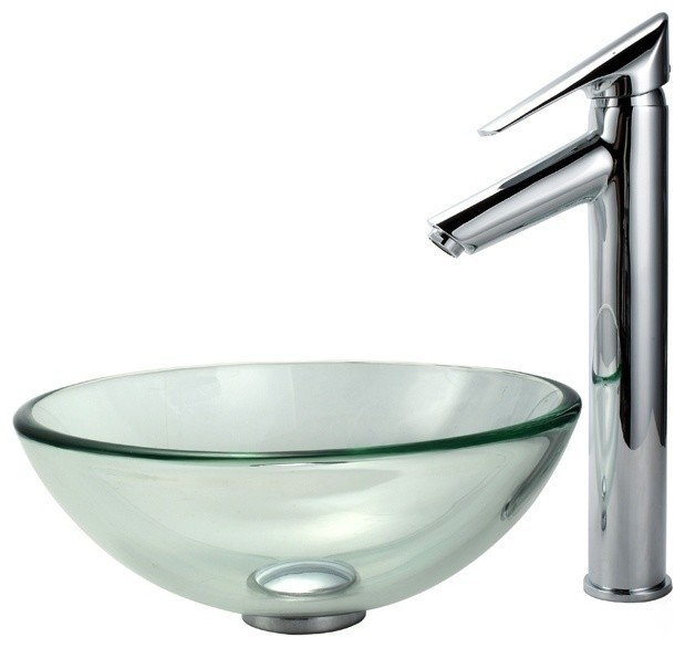 Clear Glass Vessel Sinks : Clear 14 in. Glass Vessel Sink and Decus Faucet contemporary-bathroom ...