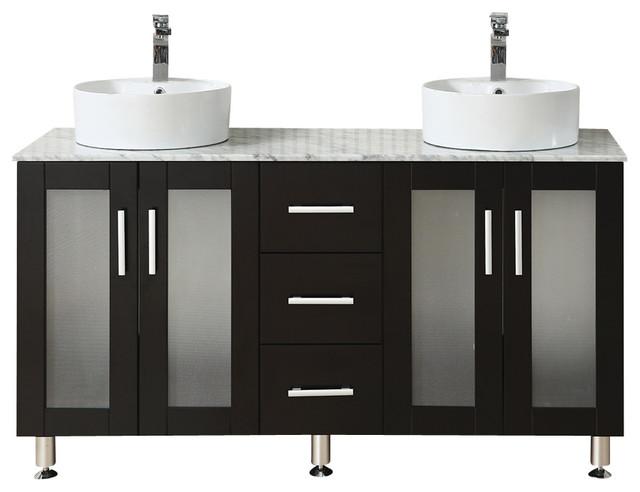 59 Double Vessel Sink Espresso Vanity Modern Bathroom Vanities And