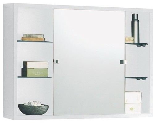 Mirrored Bathroom Cabinet Double Doors Bath Wall Mounted Storage Furniture White: Wall Mounted One-Piece Medicine Cabinet With Sliding