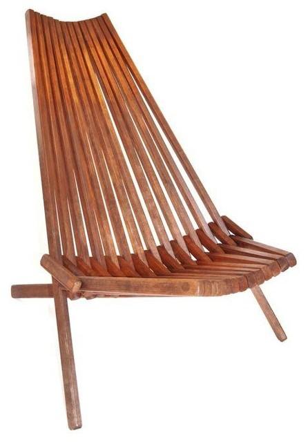 slat teak folding lounge chair modern living