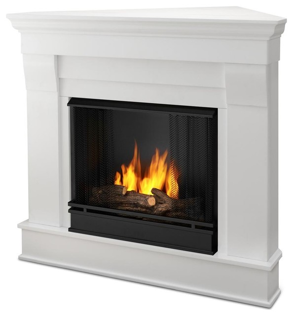Chateau Corner Ventless Gel Fireplace In Whit