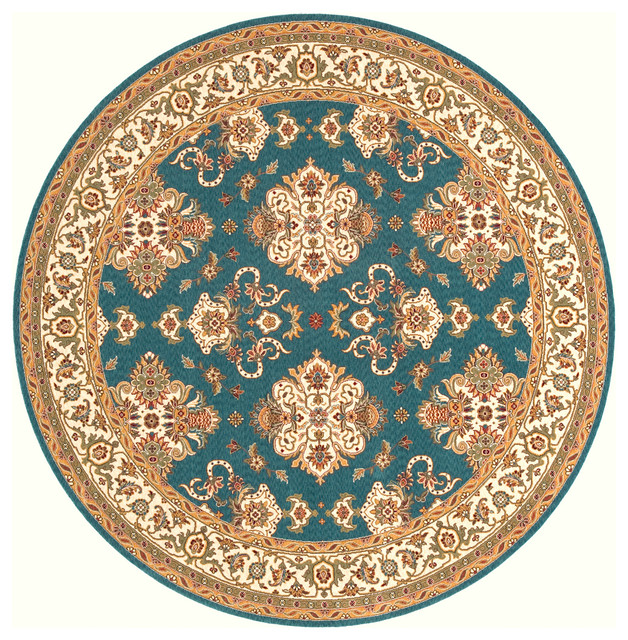 Persian Hand-Serged Rug, Teal Blue, 8'x8' Round