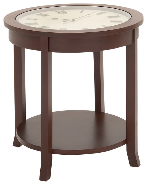 Beautiful and unique style wood glass clock table home Beautiful end tables