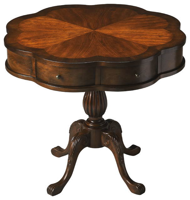 Chatham plantation cherry clover pedestal table traditional side tables end tables by Traditional coffee tables and end tables