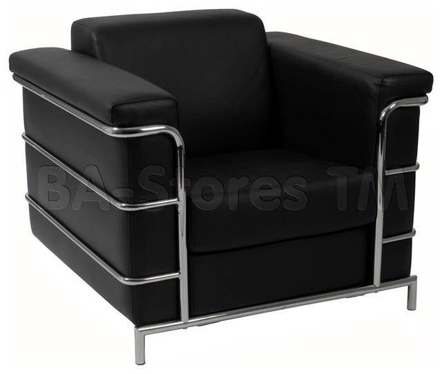 Leonardo Leather Arm Chair in Black and Chrome