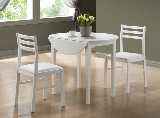 White 3 Piece Dining Set Drop Leaf Table Contemporary Dining Sets