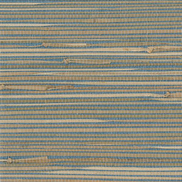 Patterned Grasscloth Wallpaper: Jissai Mariner Blue Grasscloth Wallpaper, Swatch