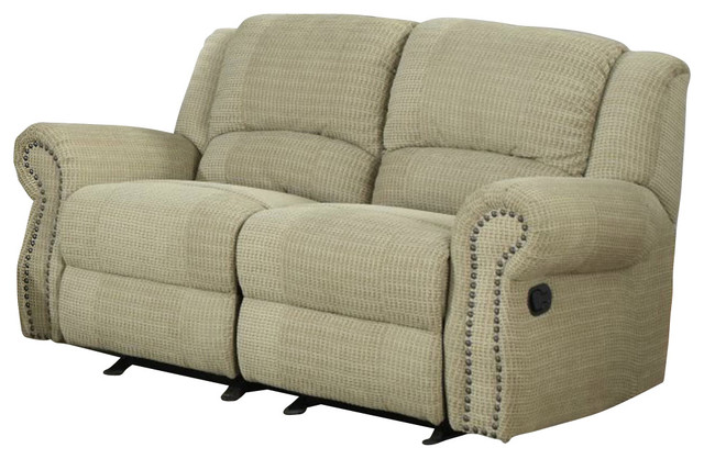 Homelegance Quinn Double Glider Reclining Loveseat In Olive Chenille Traditional Loveseats