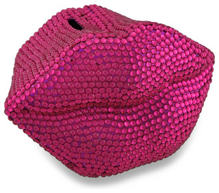 Hot pink bling lips coin bank razzle dazzle rhinestone piggy bank traditional piggy banks - Rhinestone piggy bank ...