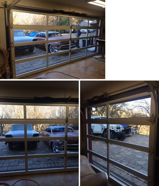 Anodized Aluminum & Clear Tempered Glass Garage Doors - Contemporary - Garage Doors And Openers ...