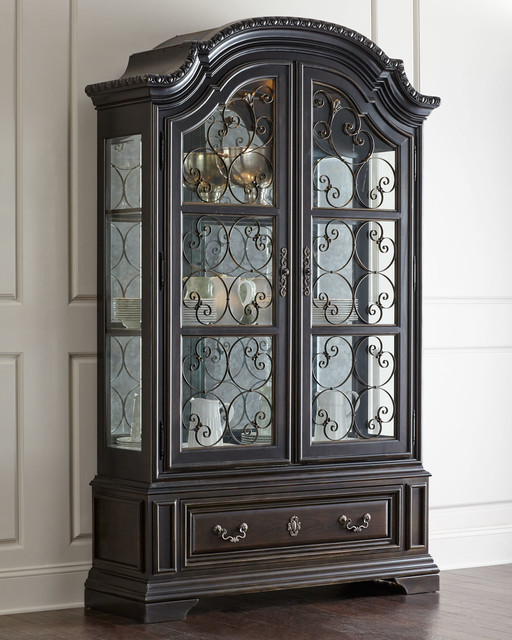 Perona China Cabinet - ANTIQUE BLACK - Contemporary - China Cabinets And Hutches - by Horchow