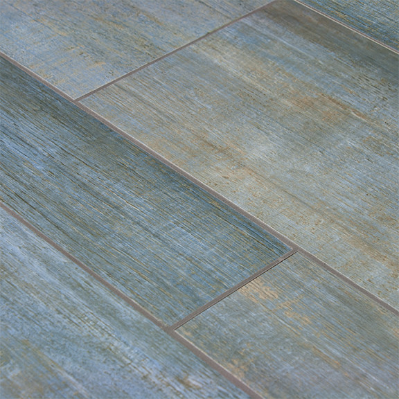 Barrique Blue Wood Plank Porcelain Contemporary Wall